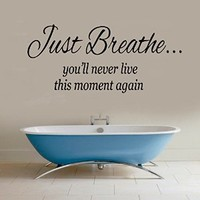 Wall Decals Vinyl Decal Sticker Children Kids Nursery Baby Room Bathroom Spa Salon Interior Design Home Decor Quotes Just Breathe You Will Never Live This Moment Again Kg734