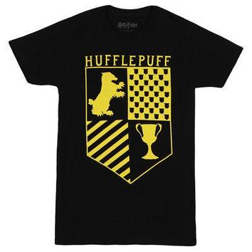Harry Potter Hufflepuff Badger Crest Logo Licensed Adult Unisex T-Shirts - Black
