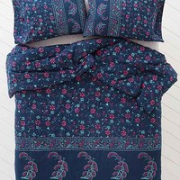 Plum & Bow Kiri Stamp Floral Comforter - Blue Full/queen