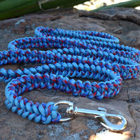 Paracord Leash, Clip Leash, Handmade Blue and Multicolor Leash