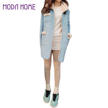 korea style coat women suede fleece lining pockets turn down collar fur long sleeve warm jacket outerwear overcoat J4U66