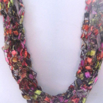 ON SALE Eclectic Bold Necklace Citron Gold Jewel Tones Bohemian Crochet Neck Jewelry Casual Necklace Ladder Yarn Fiber