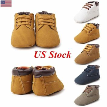 US Fashion Newborn Toddler Boys Baby Girls Boots Lace Up Soft Leather Shoes New