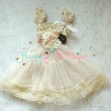 Burlap Flower girls dress/ Girl Champagne Rustic Lace Chiffon Dress set