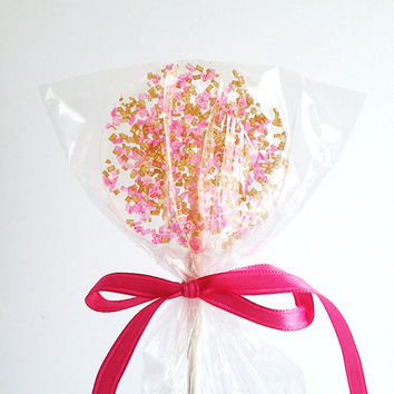 Pink & Gold - wedding birthday party favor glitter sparkle hard candy lollipop sprinkle - SIX LOLLIPOPS
