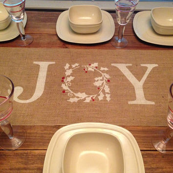 Burlap Table Runner  12', 14', & 15' wide with Joy in the center