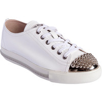 Miu Miu Studded Metallic Cap Toe Sneaker at Barneys New York at Barneys.com