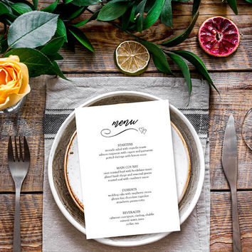 Dinner menu template, Printable menu cards, Rustic menu printable, Wedding food menu template, 5x7 wedding reception menu cards PDF template