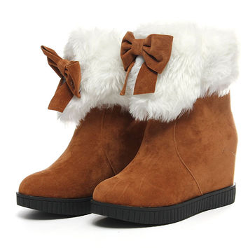 Snow Boots Women Girls Cute Bowknot Ankle Boots Warm Autumn Winter Furry Low Heel Increased With Shoes Ladies Plush Bootie