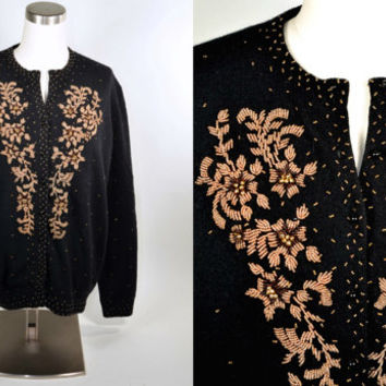 Vintage 50s Black Wool Bronze Beaded Evening Cardigan Sweater/ Rockabilly Pinup Retro Jumper Size 44 M/L