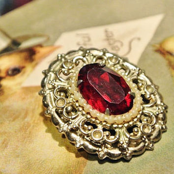 1940s CORO Pegasus Brooch Ruby Red Glass Rhinestone Faux Seed Pearl Antique Brooch Victorian Revival Double Signature Designer Jewelry Pin