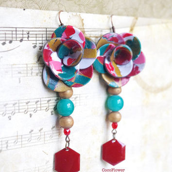 Polymer clay Flower earring dangle Multicolor jewelry romantic