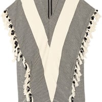 Finds - + Koza Elyse fringed herringbone cotton kaftan