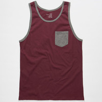 Blue Crown Contrast Mens Pocket Tank Burgundy  In Sizes