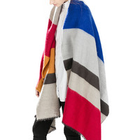 Color Block Striped Cape