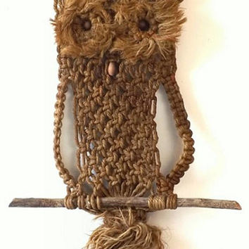 1970's Macrame Owl, Vintage Jute with Wood Beads & Branches, Boho Hippie Home Decor Fiber Art, Front Door or Wall Hanging