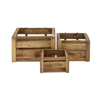 Wood Panel Crates - Set of 3
