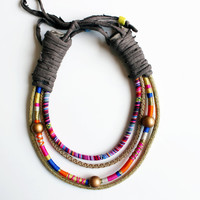 Statement necklace - Modern multicolored necklace, Bohemian necklace, Romantic and elegant necklace, Unique and classy colorful necklace