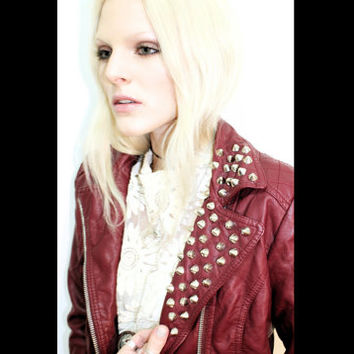 Maroon Studded Spring Jacket / Studded Collar / Pleather / Silver Studs on Collar / Artificial Red Leather / Tumblr Clothing / Grunge / Punk