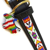 Hand Made Beaded Leather Dog Collar - GERONIMO