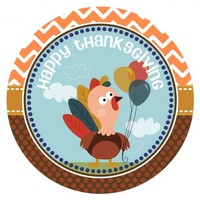 Turkey Happy Thanksgiving Stickers for Party Favor Labels