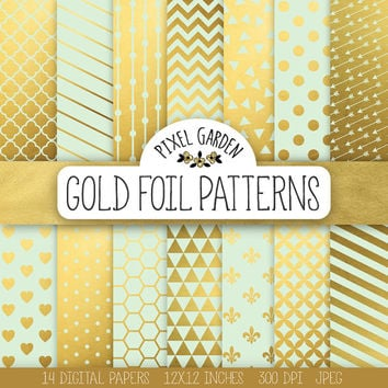 Gold & Mint Digital Paper. Gold Foil Scrapbook Paper. Mint, Gold Wedding Background. Chevron, Arrow, Heart, Polka Dot, Confetti Patterns.