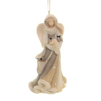 Holiday Ornaments ANGEL WITH BIRDS Polyresin Christmas 6004114