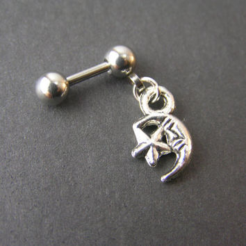 """Tiny Moon & Star 16g 1/4"""" 6mm Cartilage Earring, Helix Stud Barbell Cartilage Piercing, Small Cosmic Dangle Earring 16 gauge"""