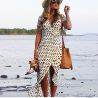 Women's Beige Chiffon Casual Beach Party Maxi Dress Short Sleeve V Neck Polka Dots Empire Female Sash Dresses Vestidos CL3320