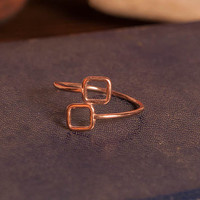 Double Facing Square Ring, Geometric Silver 925 Ring,  Handmade Minimalist Ring