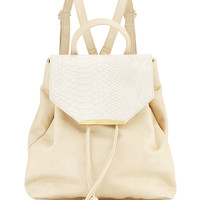 Sloane Snake-Embossed Faux-Leather Combo Backpack, Bone - Danielle Nicole
