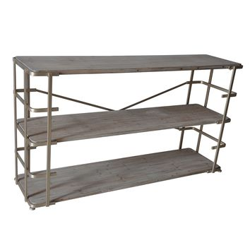 Ava Silver Metal And Rustic Driftwood Console Shelving By Crestview Collection Sku Cvfzr1911