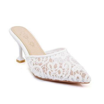 Pointed Toe Lace Mid Heels Slides Summer Shoes 2056