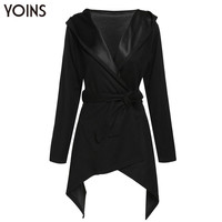 YOINS 2016 New Autumn Winter Women Fashion Turn-down Collar Hooded Slim Fit Woolen Trench Coat Overcoat Outwear with Tie Waist