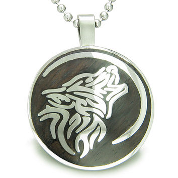 Wolf Moon Protection Powers Black Wood Amulet Circle 18 Inch Pendant Necklace