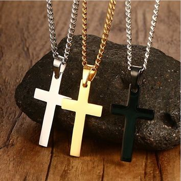 "Classic Mens Cross Pendant Necklace 24"" Stainless Steel Link Chain"