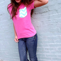 Pink Tee w/ Chevron Pocket | The Rage
