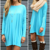 Ellington Turquoise Long Sleeve Piko Dress