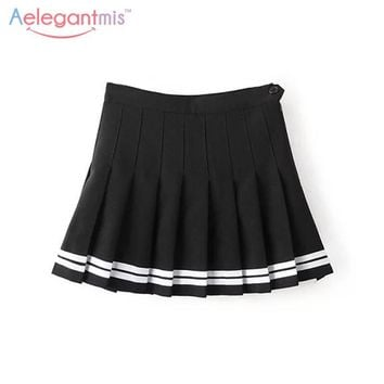 Aelegantmis Sweet Pleated Skirt Women Preppy Style Mini High Waist Skirt Girls Vintage Black White Cute School Uniforms Skirts