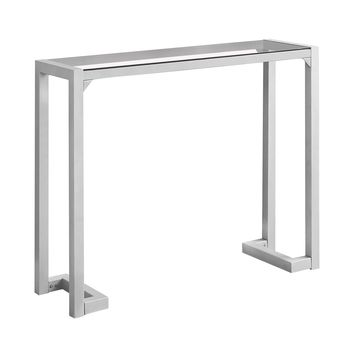 "Accent Table - 42""L, Silver,Tempered Glass Hall Console-I 2107"
