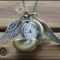 harry potter pocket watch necklace golden snitch steampunk jewelry antique necklace vintage style gift idea
