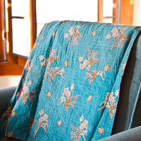 Kantha Blanket, Turquoise and Vibrant Red