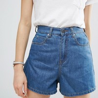 ASOS Denim Culotte Short in Mid Wash Blue at asos.com