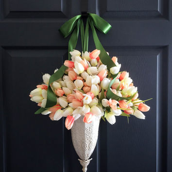 Spring Coral & White Tulips Door Wreath Container - Front Door Decoration - WREATHS - Easter Decorations - Door Decor - Wreaths