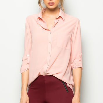 Roll Up Sleeve Button Down Blush Chiffon Blouse