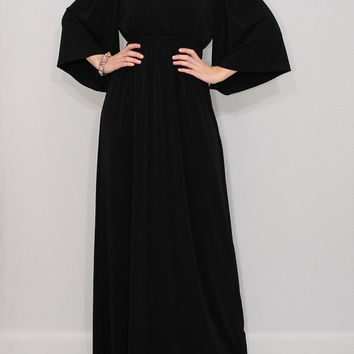 Black maxi dress Long black dress Kimono dress Full length dress Women