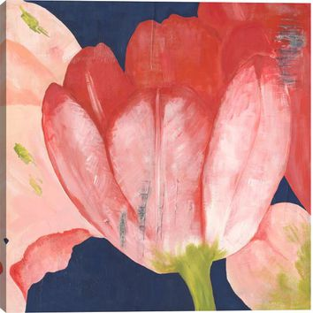 Tulips in Coral II Floral Canvas Wall Art Print