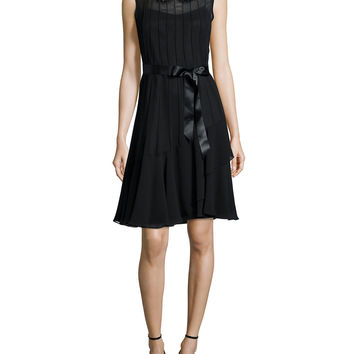 Sleeveless Jeweled-Collar Pintucked Dress, Size: