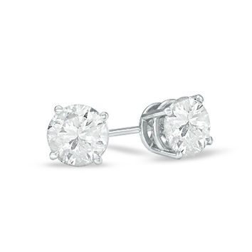 1-1/2 CT. T.W. Diamond Solitaire Stud Earrings in 14K White Gold
