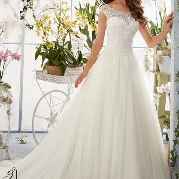 Blu by Mori Lee 5403 Sleeved lace tulle A line